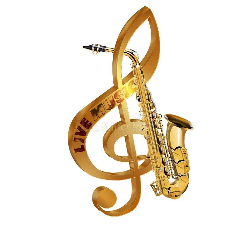 Treble clef saksofonu muzyka na żywo zdjęcia stock