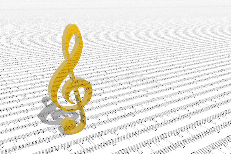 Treble clef on sheet of printed music vector illustration