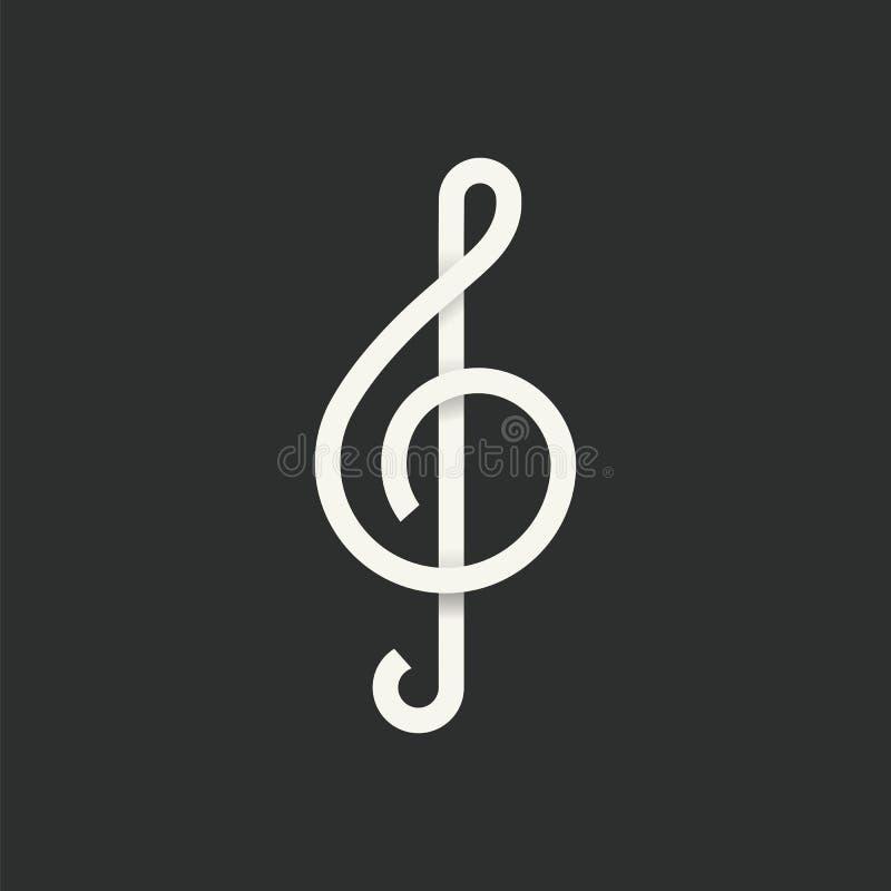 Treble Clef symbolu Abstrakcjonistyczna Wektorowa ikona ilustracji