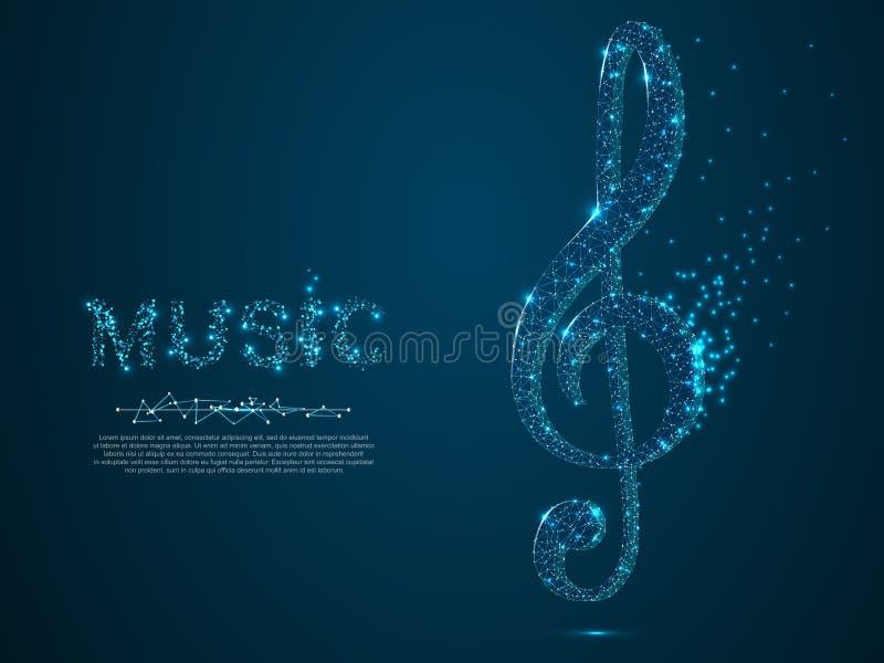 Treble clef sztuki wektorowy poligonalny styl Niska poli- wireframe ilustracja nutowa muzyki klasycznej wektora fale Destructing  ilustracja wektor