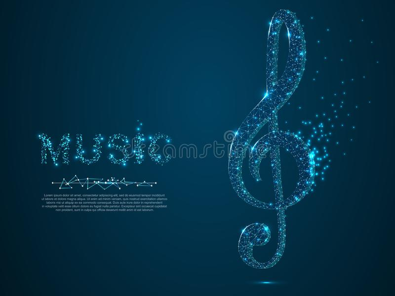Treble clef vector polygonal art style. Low poly wireframe illustration. Music note. Destructing triangles vector illustration