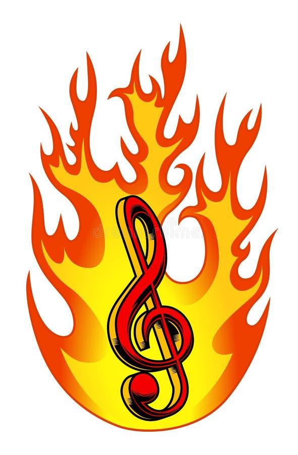 Treble clef w płomieniu ilustracja wektor