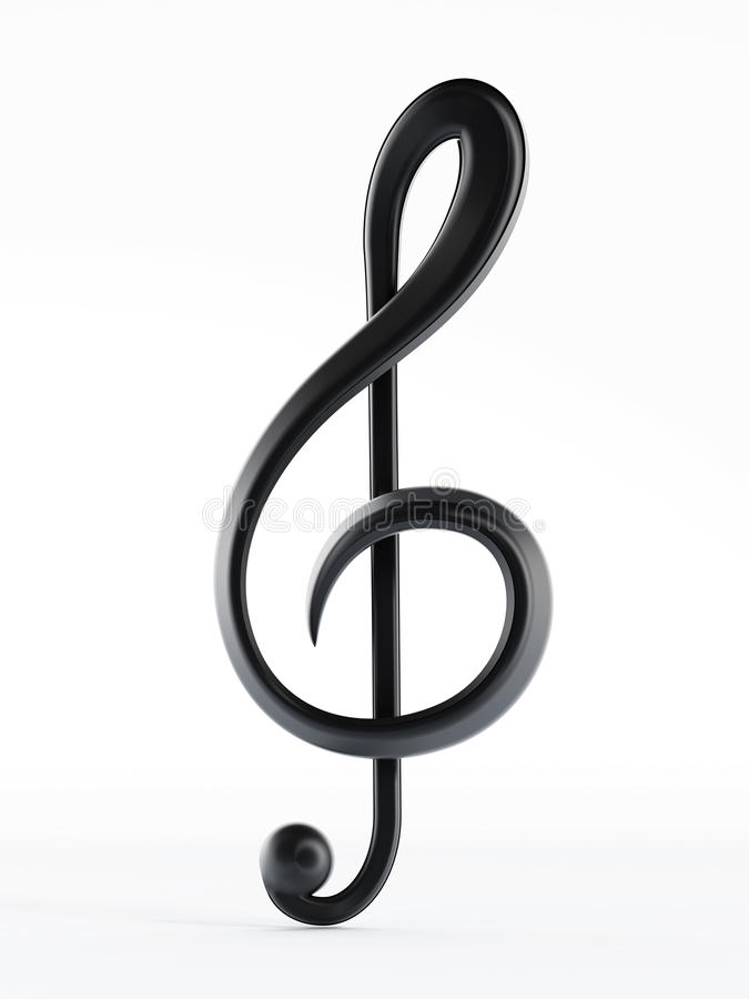 Treble clef. On white background stock illustration