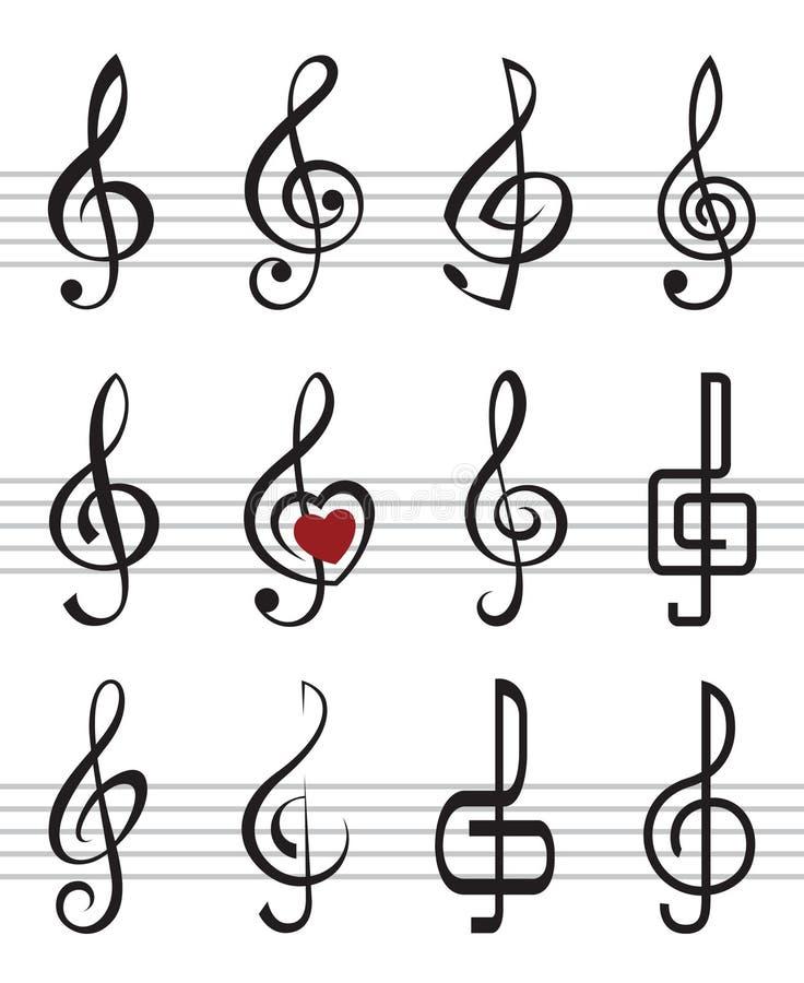 Download Treble clefs stock vector. Illustration of line, decoration - 28931644