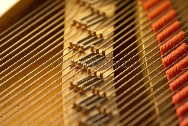 Treble Strings on Grand Piano obrazy stock