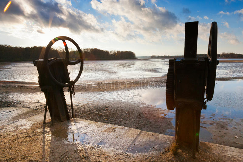 TREBON, CZECH REPUBLIC - DEC 2014 - Fish harvest. Empty pond Svet, Trebon after fish harvesting in autumn stock images
