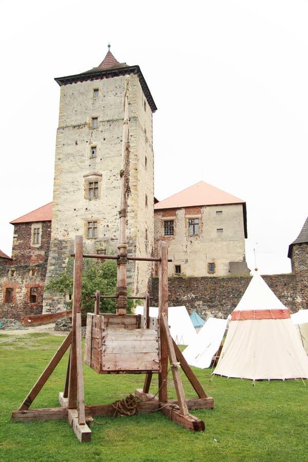 Trebuchet on Svihov castle stock photography