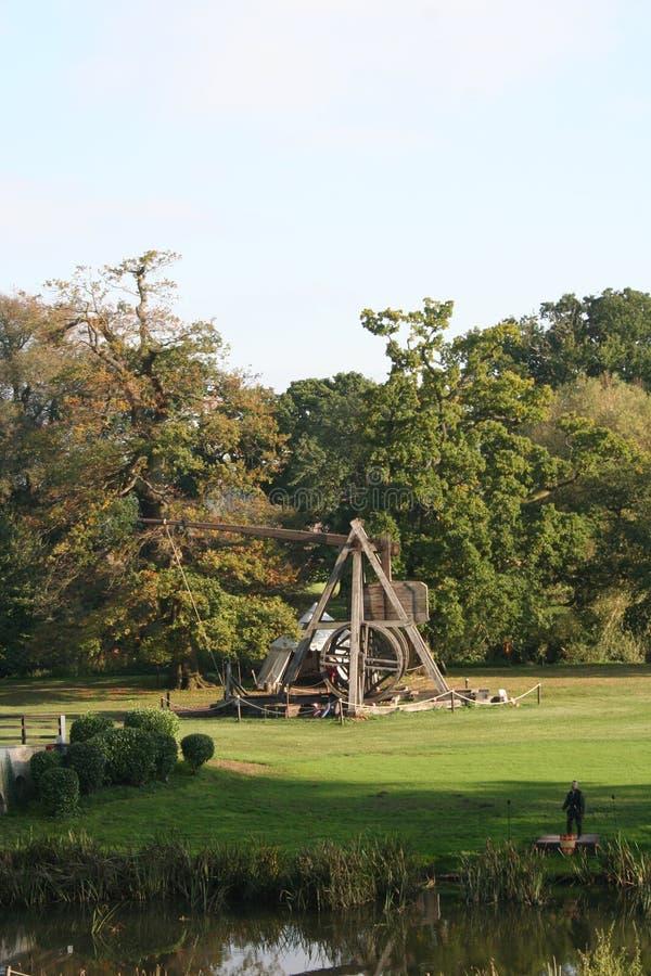 Trebuchet, Warwick Castle, Warwickshire, Inghilterra fotografie stock libere da diritti