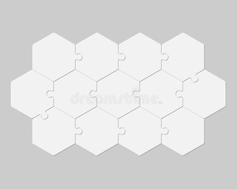 Trece piezas puzzle hexágono info gráfico ilustración del vector