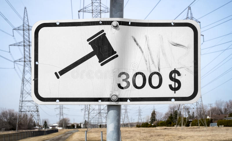 Trecento dollari multano il segno immagini stock