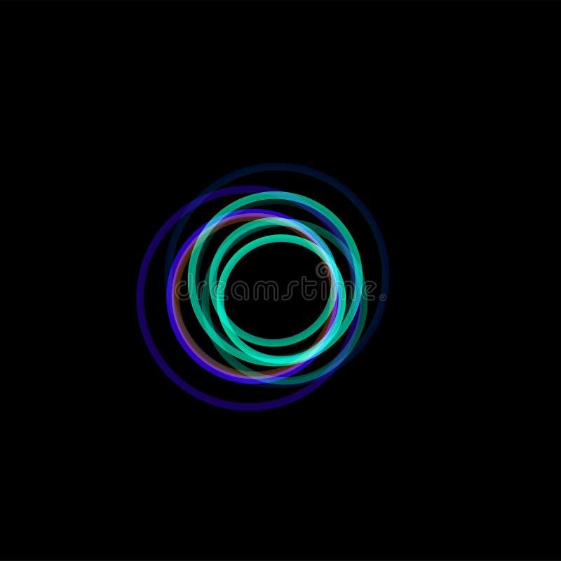 trechter abstract embleem, lineaire ongebruikelijke vorm, cirkellijn logotype De lichtgevende hoepels, ringen, rijden grafisch royalty-vrije illustratie