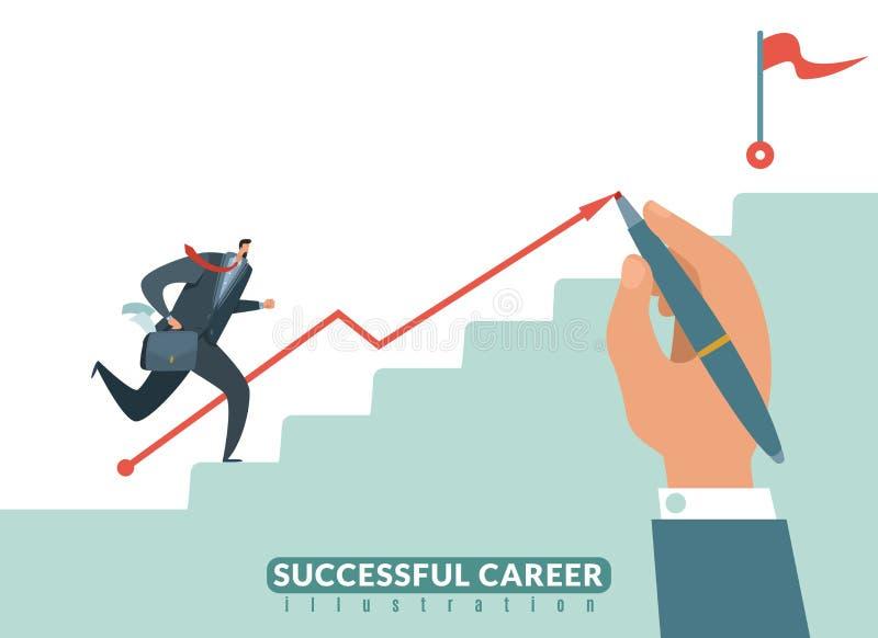 Trede aan het doel Weg naar het succes bedrijfscarrière, zakenmantrap aan doel en de groei employeeman vector royalty-vrije illustratie