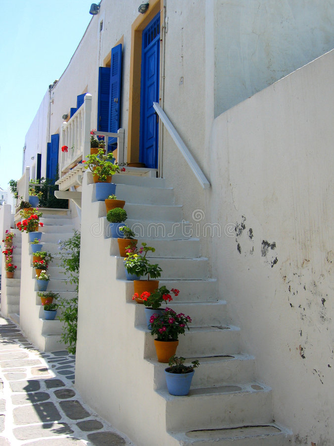 Treden aan voordeur, Paros royalty-vrije stock fotografie