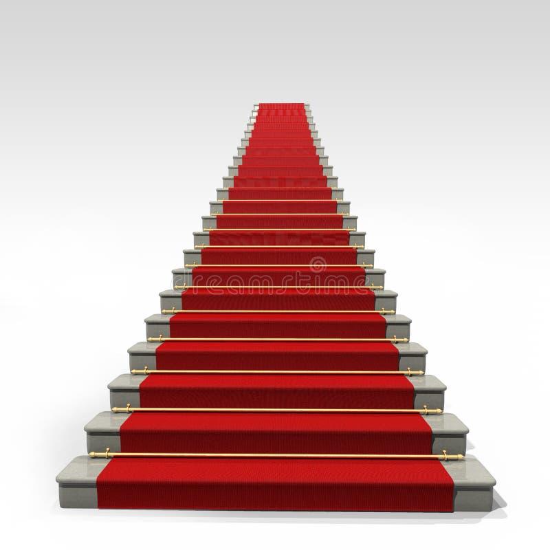 Treden en rood tapijt stock illustratie