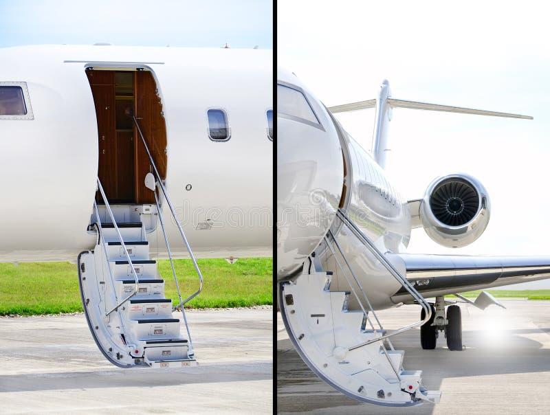 Treden met straalmotor op een privé vliegtuig - Bombardier royalty-vrije stock foto