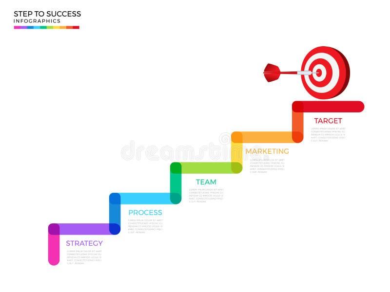 Tredestap aan dartboarddoel en succesconcept Malplaatje van bedrijfschronologie het moderne kleurrijke infographics met pictogram royalty-vrije illustratie