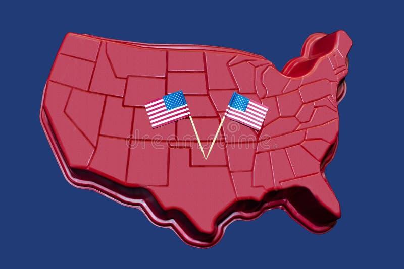 Tredimensionell översikt av kontinentalt USA med amerikanska flaggan som visas på det - patriotisk bakgrund eller beståndsdel stock illustrationer