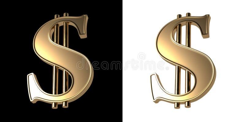 Tredimensionell bild av det guld- dollartecknet Isolerat på svartvit bakgrund stock illustrationer