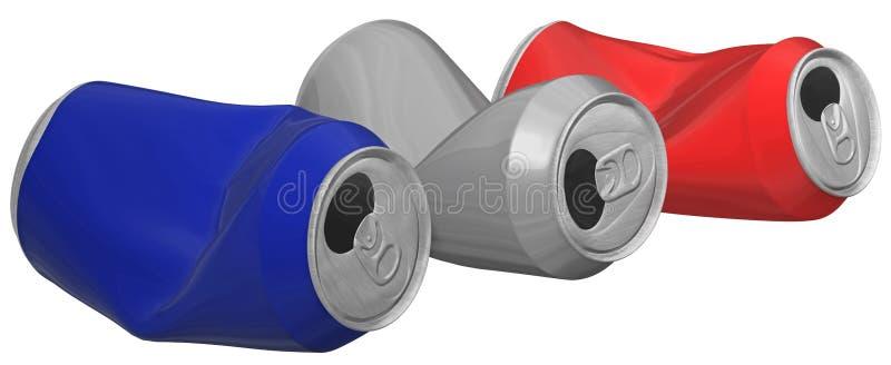 Tredimensionell bild av skrynkliga aluminiumburkar. royaltyfri illustrationer