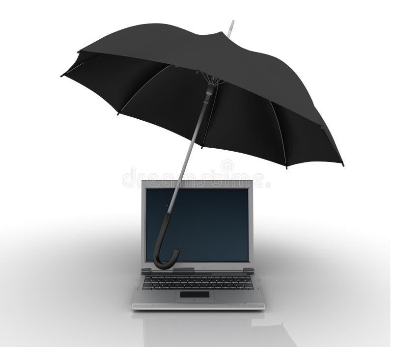 Bärbar dator under paraplyet stock illustrationer