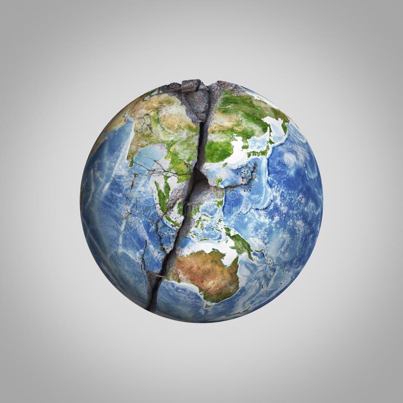 Tredimensionell illustration av den skadade jordplaneten med sprickan Beståndsdelar denna bild möbleras av NASA vektor illustrationer