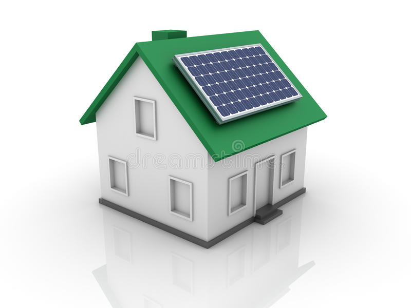 Hus med den sol- panelen stock illustrationer