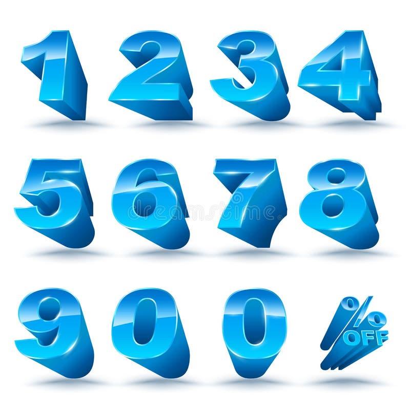 Tredimensionell nummeruppsättning 0-9 med procent av vektor illustrationer