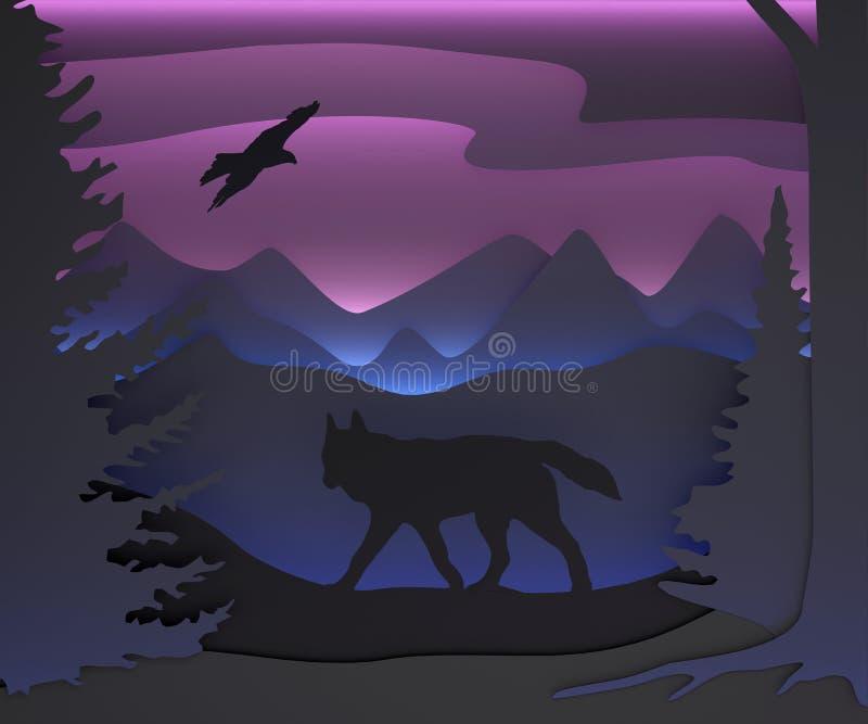 Tredimensionell sammansättning med en varg och en örn felik skog royaltyfri illustrationer