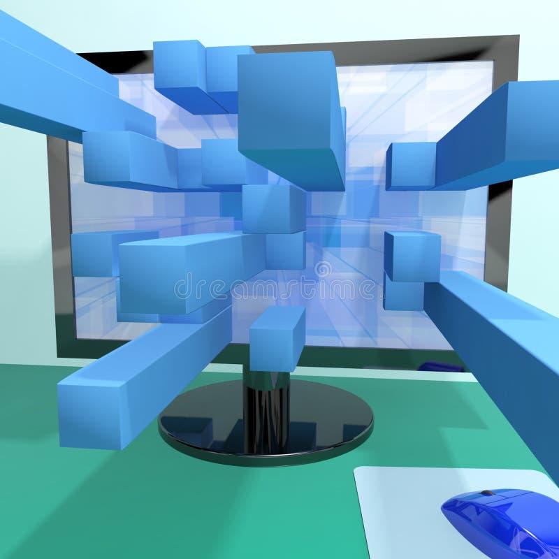 Tredimensionella fyrkanter på datoren stock illustrationer