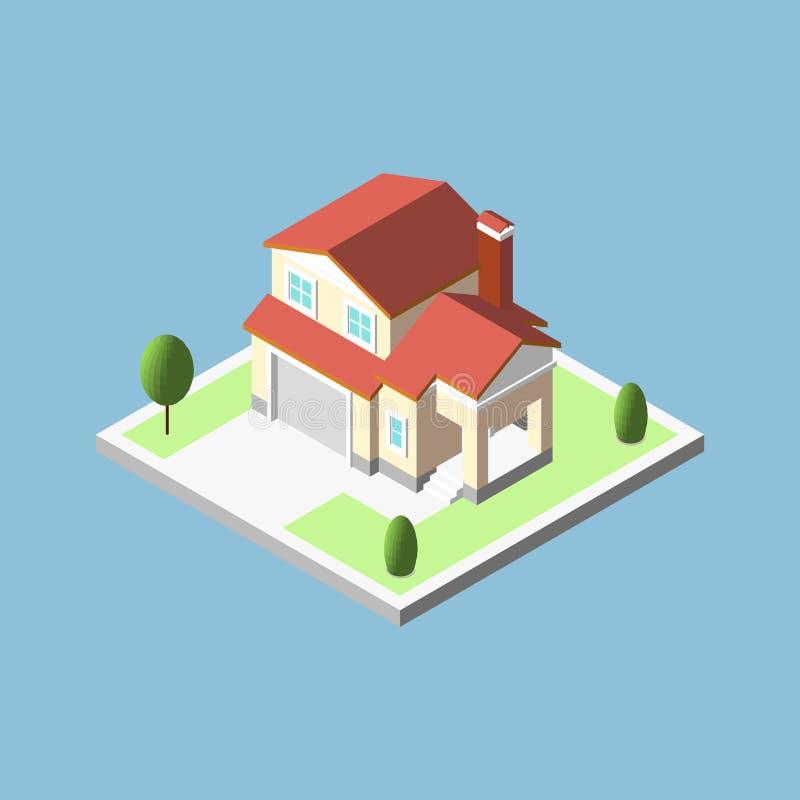 Tredimensionella isometriska bybyggnader, fastighetsymbol royaltyfri illustrationer