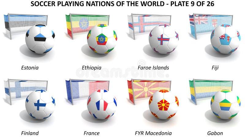 Leka nationer för fotboll av världen vektor illustrationer