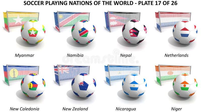 Leka nationer för fotboll av världen stock illustrationer