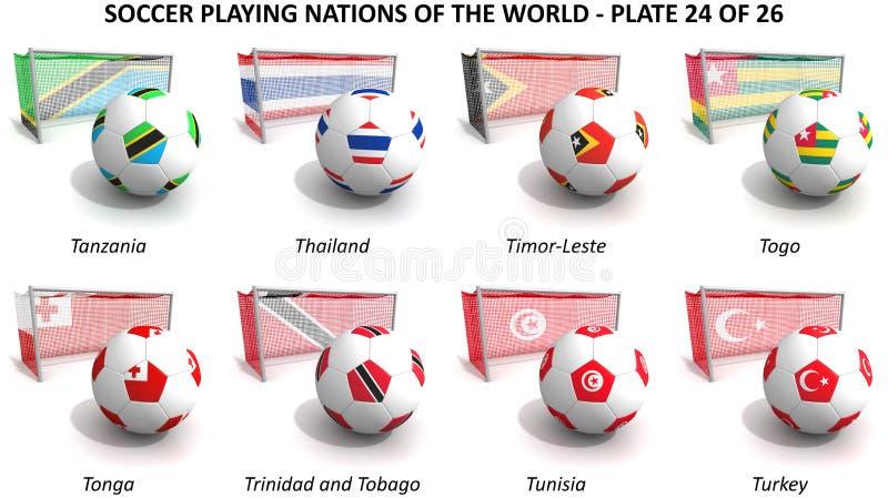 Leka nationer för fotboll av världen royaltyfri illustrationer
