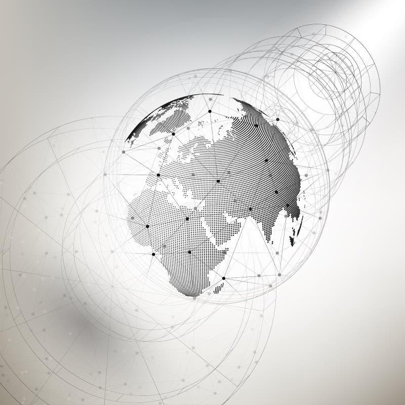Tredimensionellt prickigt världsjordklot med abstrakt konstruktion och molekylar på grå bakgrund, låg poly designvektor royaltyfri illustrationer