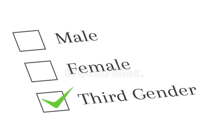 Tredje genus- och granskningsbegrepp stock illustrationer