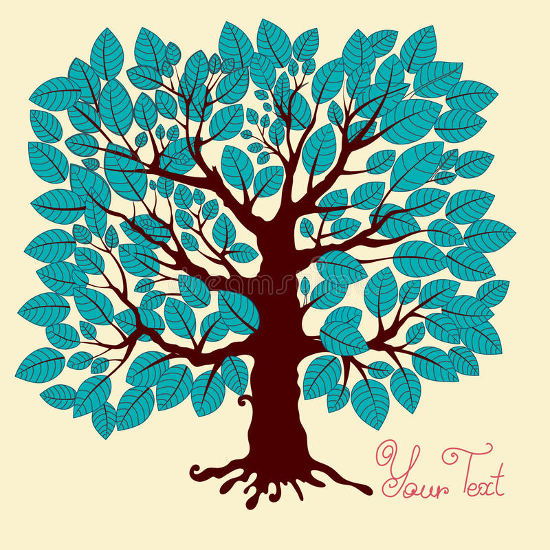 Tree. With blue foliage. A illustration for use in design royalty free illustration