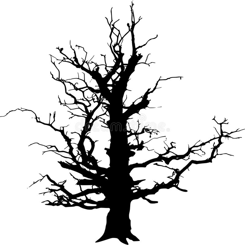 Tree. A very old tree in winter converted into SVG stock illustration