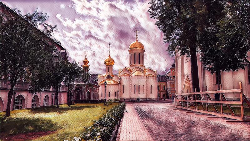 Photographic art picture of tree alley and golden cupola of orthodox church of The Holy Trinity Saint Sergius Lavra. Tree alley and golden cupola of orthodox royalty free illustration