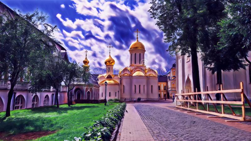 Photographic art picture of tree alley and golden cupola of orthodox church of The Holy Trinity Saint Sergius Lavra. Tree alley and golden cupola of orthodox vector illustration