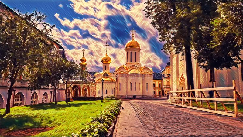 Photographic art picture of tree alley and golden cupola of orthodox church of The Holy Trinity Saint Sergius Lavra. Tree alley and golden cupola of orthodox stock illustration