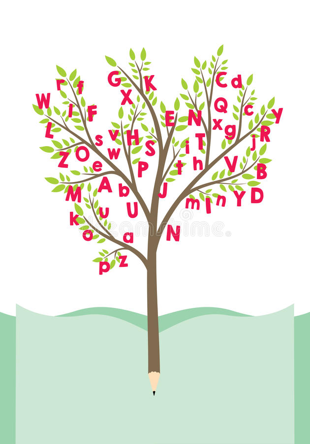 Tree with letters. Tree with alphabet letters. Pencil tree royalty free illustration