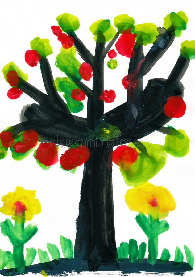 Download Tree With Apples, Watercolor Paint Stock Illustration - Image: 29005142