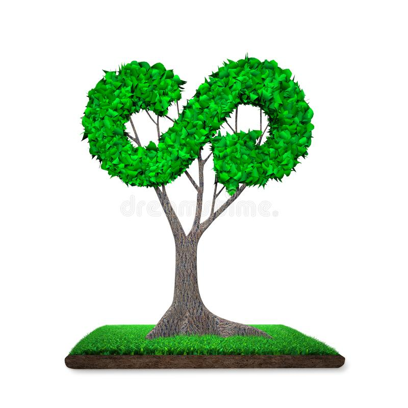 Tree with arrow infinity shaped leaves, grass land, 3D illustration vector illustration