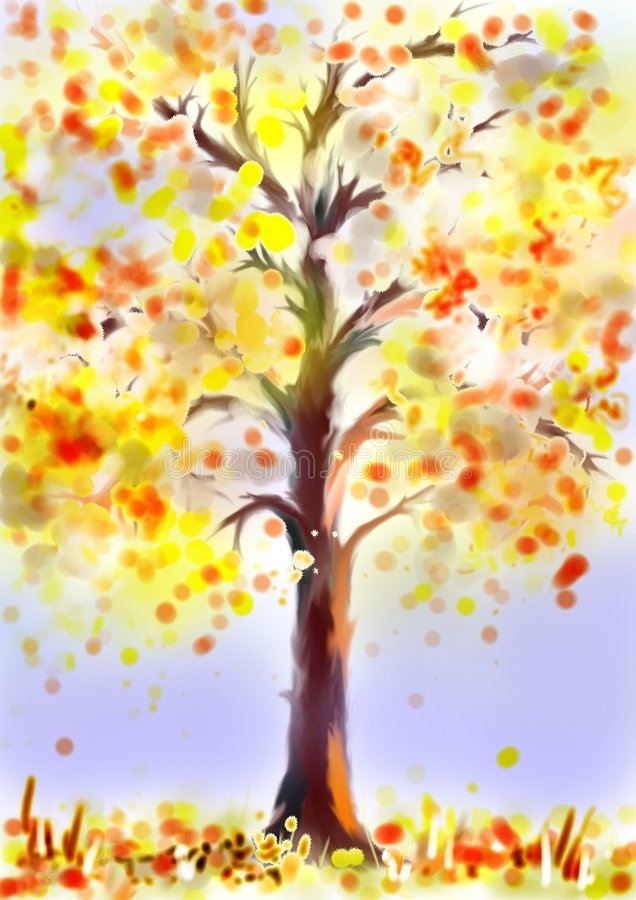 Tree in autumn vector illustration