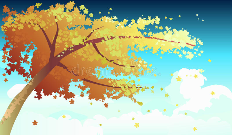 Tree in autumn vector illustration royalty free stock image