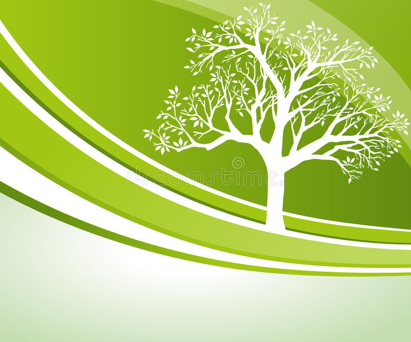 Tree Background. A flowing tree background with green waves