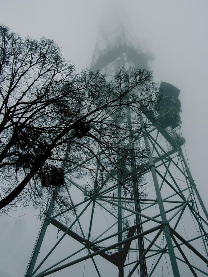 Tree on the background of a high metal tower in the fog royalty free stock image