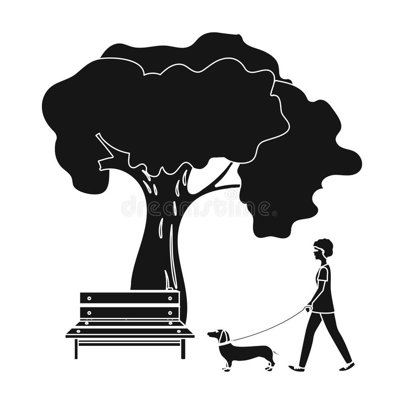 Tree and bench, woman walks a pet in the park. Pet ,Dog care single icon in black style vector symbol stock illustration. Tree and bench, woman walks a pet in vector illustration