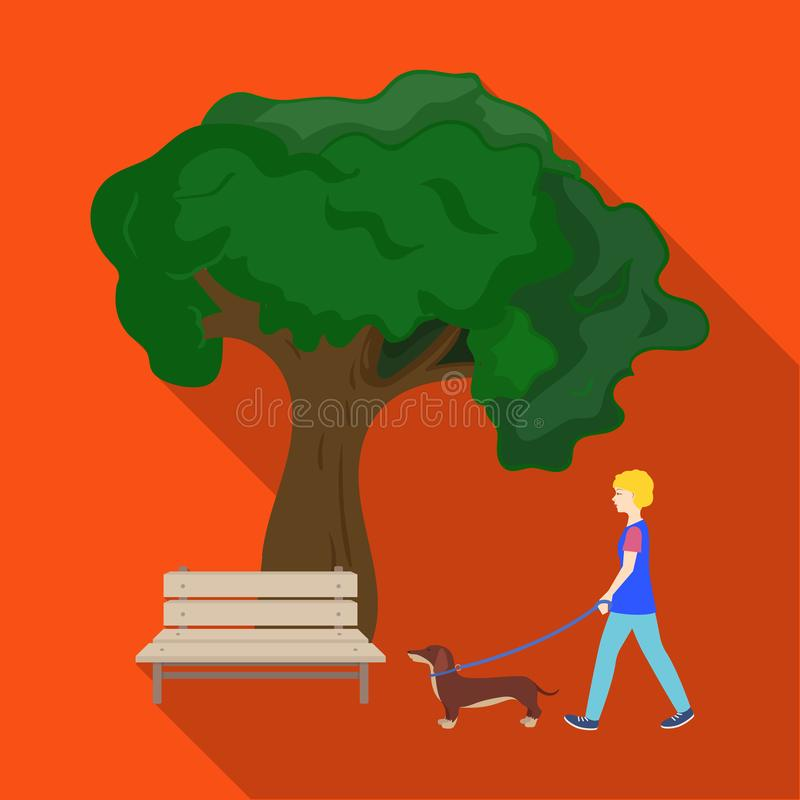Tree and bench, woman walks a pet in the park. Pet ,Dog care single icon in flat style vector symbol stock illustration. Tree and bench, woman walks a pet in the royalty free illustration