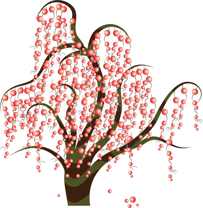 Download Tree with berries stock vector. Image of branch, silhouette - 14860517